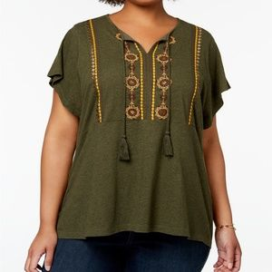 NWT Style & Co Plus Size Embroidered Peasant Top